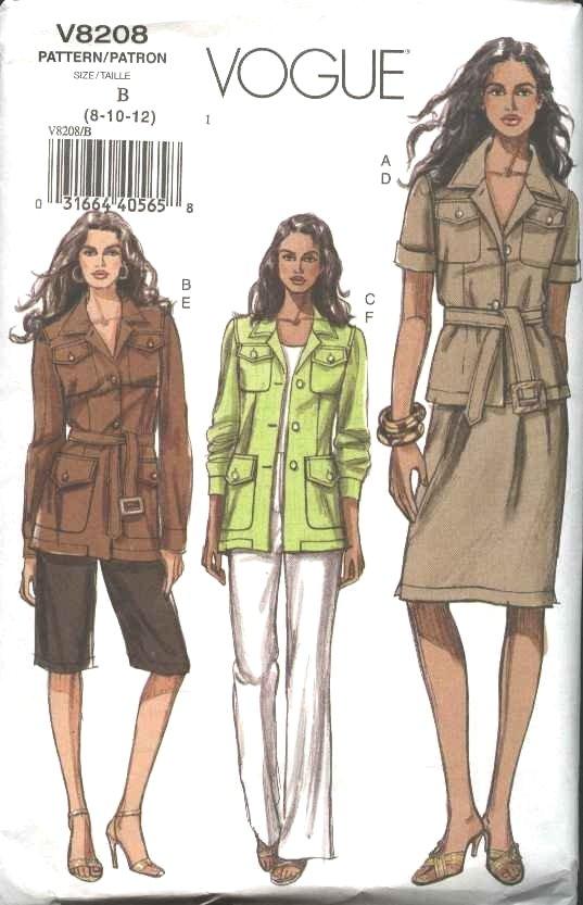 Vogue Sewing Pattern 8208 Misses Size 8-10-12 Easy Safari Wardrobe Jacket Skirt Pants Shorts