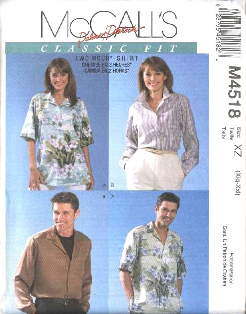 """McCall's Sewing Pattern 4518 Misses Mens Chest Size 42-48"""" Classic Fit Short Long Sleeve Shirts"""