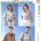 "McCall's Sewing Pattern 4518 Misses Mens Chest Size 42-48"" Classic Fit Short Long Sleeve Shirts"