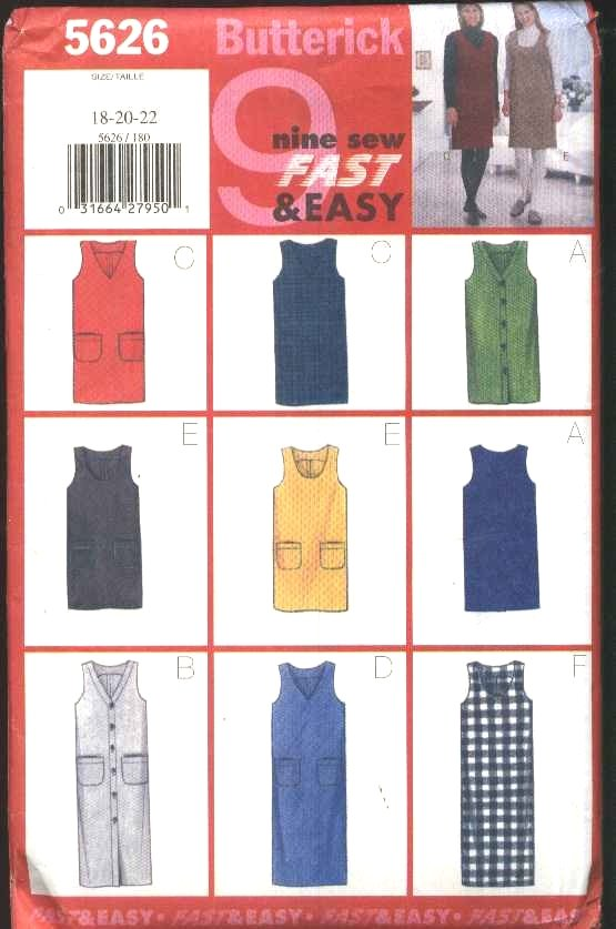 Butterick Sewing Pattern 5626 Misses Size 18-22 Easy Jumper Neckline Button Length Options