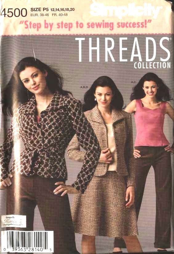 Simplicity Sewing Pattern 4500 Misses Size 12-20 Wardrobe Camisole Skirt Lined Jacket Pants Top