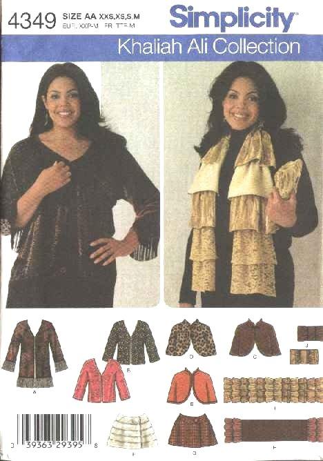 Simplicity Sewing Pattern 4349 Misses Size 4-16 Jacket Capelet Wrap Scarf Clutch Purse Khaliah Ali