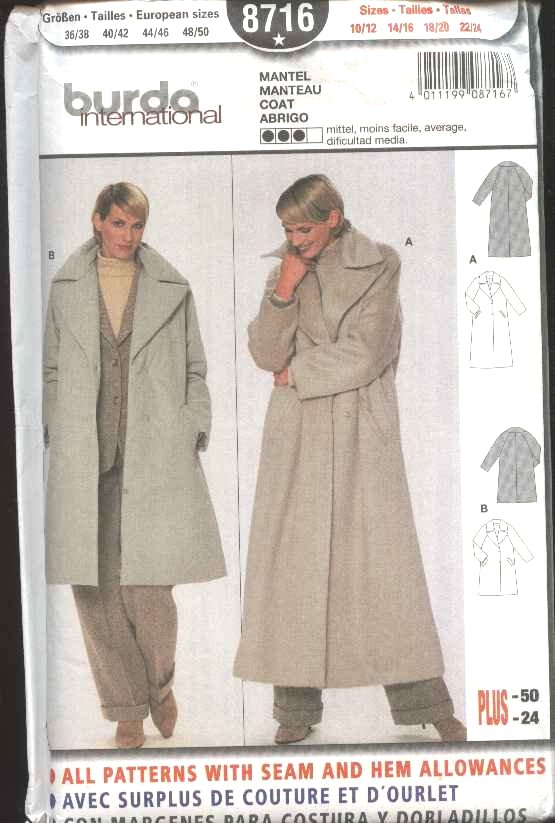 Burda Sewing Pattern 8716 Misses Size 10/12-22/24 Loose Fitting Winter Coat
