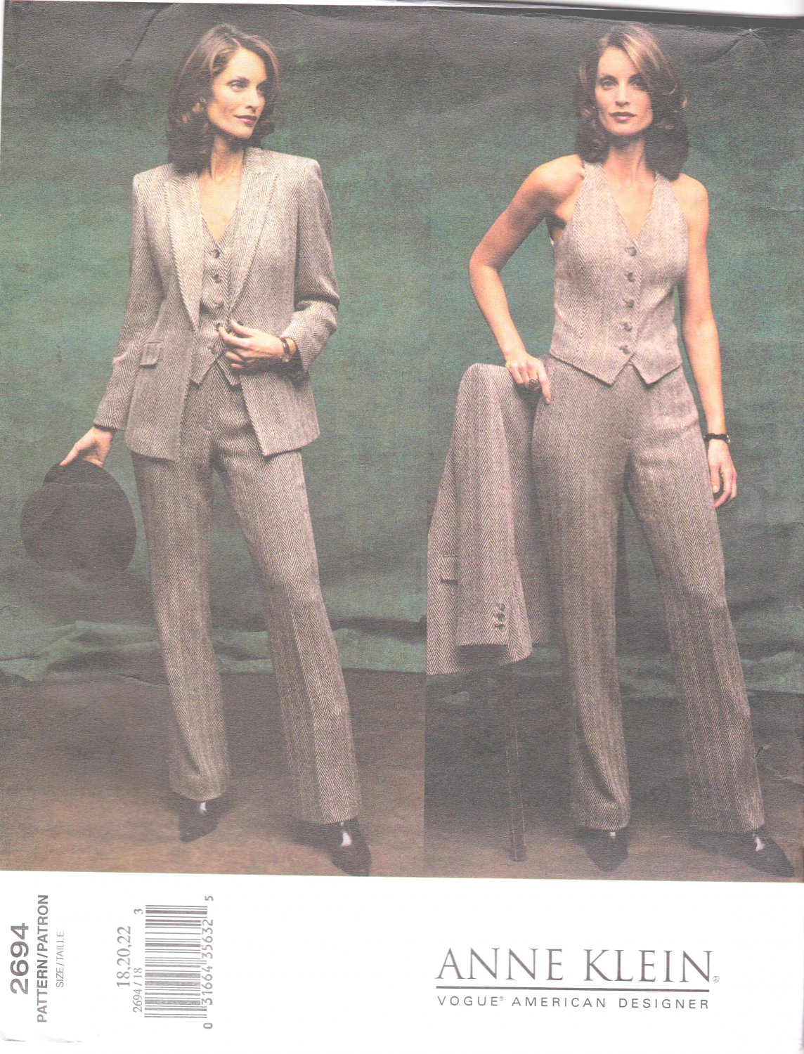 Vogue Sewing Pattern 2694 Misses Size 18-20-22 Anne Klein Pants Jacket Vest