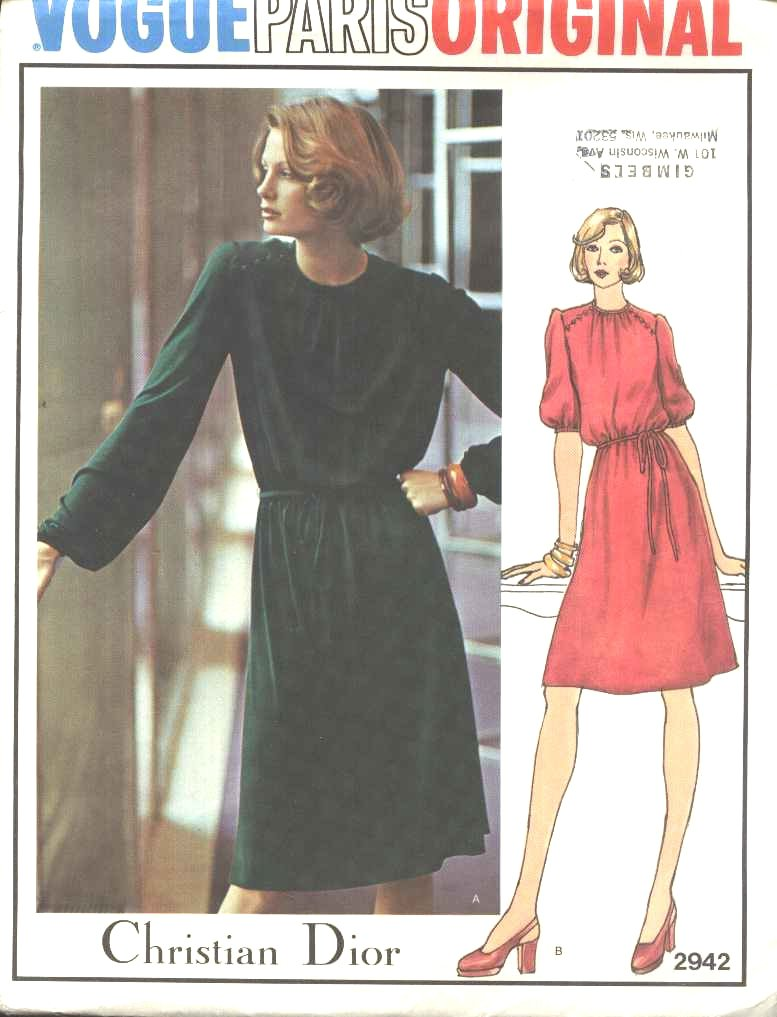 Vogue Sewing Pattern 2942 Misses Size 10 Christian Dior Paris Original Loose-fitting Dress