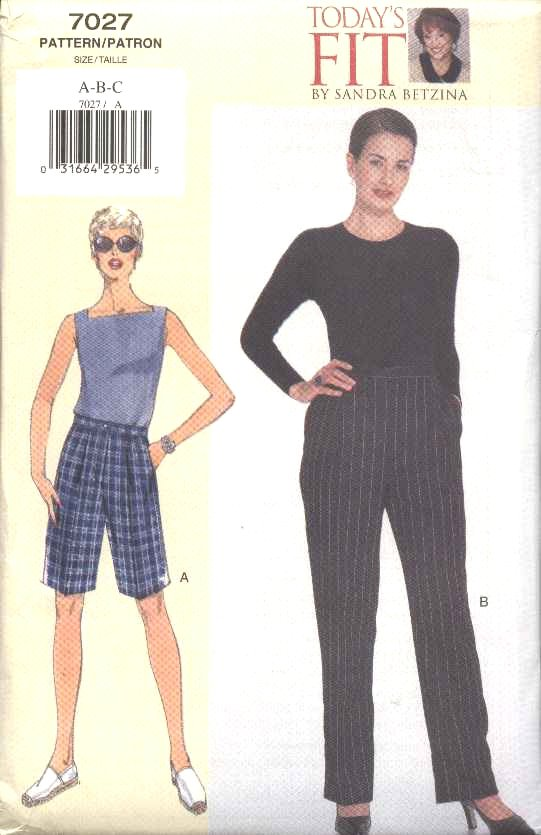 Vogue Sewing Pattern 7027 Misses Size 10-14 Easy Lined Shorts Pants Sandra Betzina