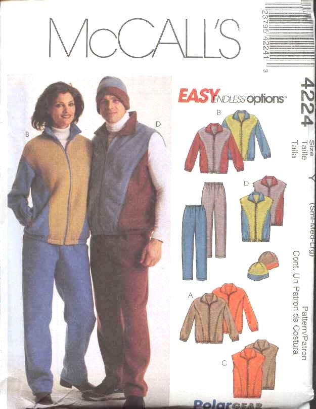 "McCall's Sewing Pattern 4224 Misses Mens Unisex Chest Size 42-48"" Easy Jackets Vests Pants Hats"
