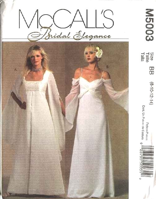 McCall's Sewing Pattern 5003 Misses Size 8-14 Bridal Wedding Gowns Dresses Empire Waist