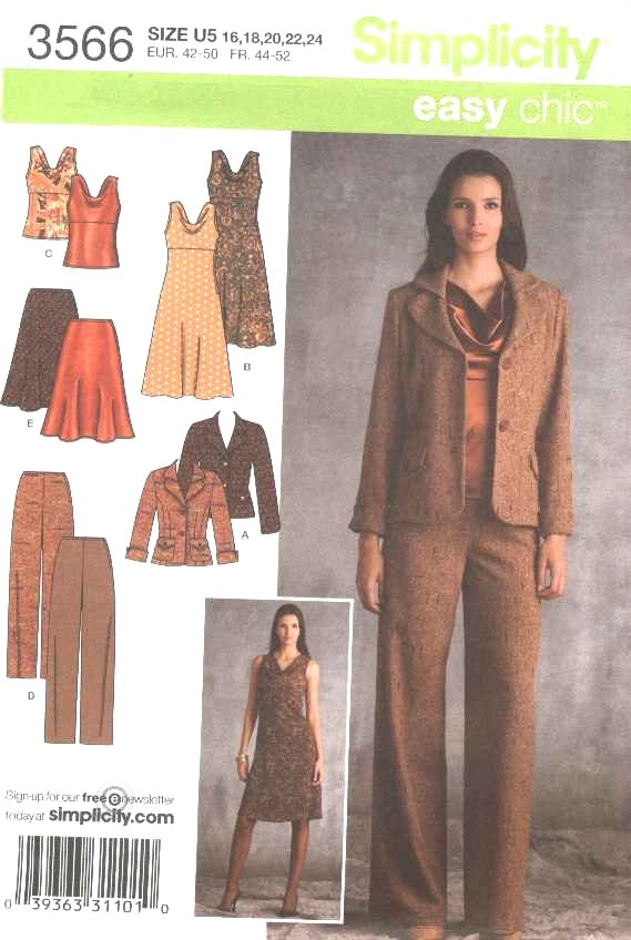 Simplicity Sewing Pattern 3566 Misses Size 8-16 Easy Wardrobe Dress Jacket Pants Skirt Top