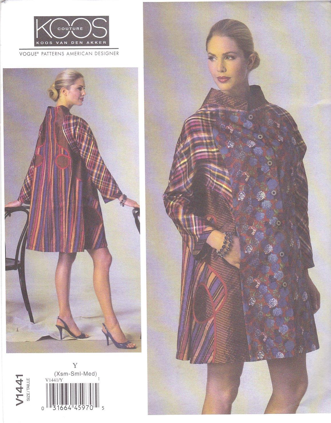 Vogue Sewing Pattern 1441 V1441 Misses Size 16-26 Koos Van Den Akker Designer Unlined Coat