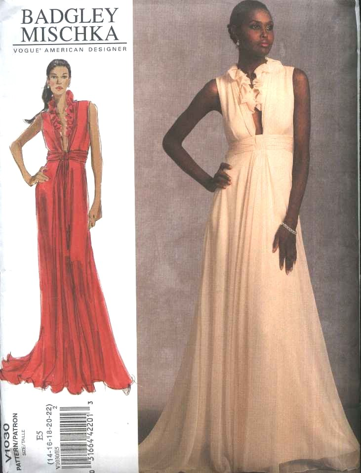 Vogue Sewing Pattern 1030 Misses Size 6-8-10-12 Badgley Mischka Formal Long Evening Gown Dress
