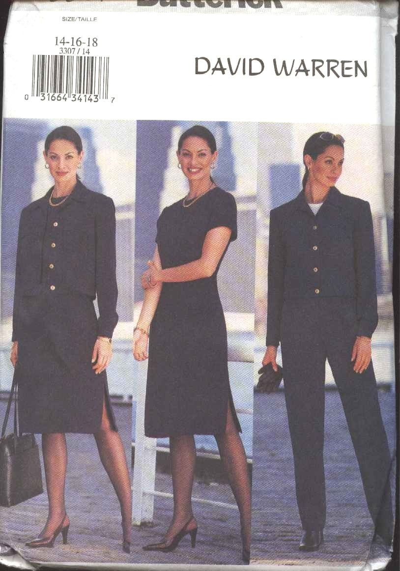 Butterick Sewing Pattern 3307 Misses Size 14-18 David Warren Easy Straight Dress Pants Jacket