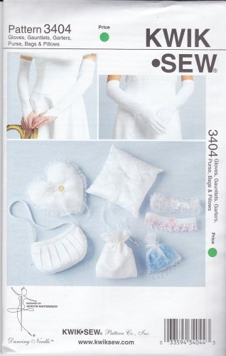 Kwik Sew Sewing Pattern 3404 K3404 Misses Wedding Accessories Gloves Ring Pillow Money Bag
