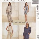 McCall's Sewing Pattern 6541 Misses Size 12 Button Front Lined Jacket Dress Vest Pants