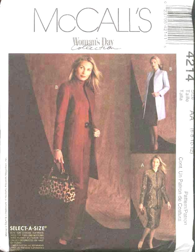 McCall's Sewing Pattern 4214 Misses Size 12-18 Lined Jacket Long Straight Pants Skirt