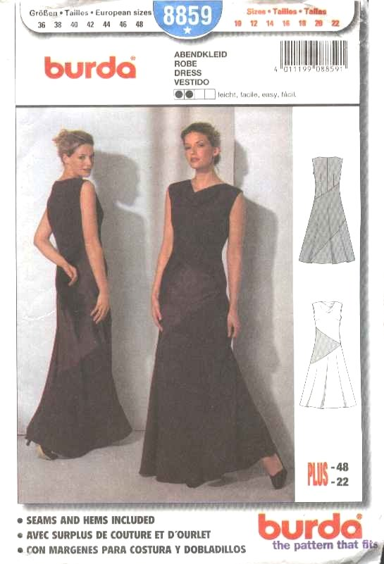 Burda Sewing Pattern 8859 Misses Size 10-22 Easy Formal Long Dress