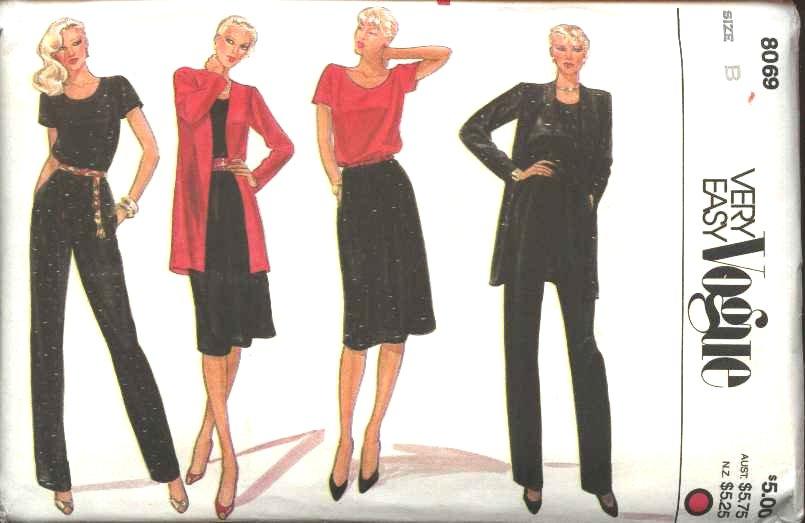 Retro Vogue Sewing Pattern 8069 Misses Size 8-10 Jacket Top Skirt Pants Wardrobe