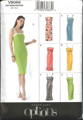 Vogue Sewing Pattern 8069 Misses Size 18-20-22 Easy Options Strapless Summer Dress