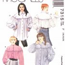 McCall's Sewing Pattern 7315 Misses Size 8-10-12 Long Sleeve Button Front Loose Fitting Shirt