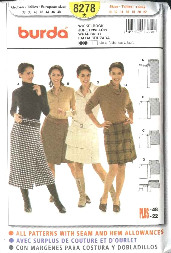 Burda Sewing Pattern 8278 Misses Size 10-22 Wrap Skirts in 4 Styles