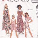 McCall's Sewing Pattern 7693 Girls Size 10 Easy Jumper Jumpsuit Romper Sundress