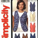 Simplicity Sewing Pattern 5640 Misses Size 10-20 Lined Button Front Vests