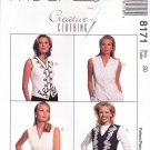 McCall's Sewing Pattern 8171 Misses Size 22 Creative Clothing Button Front Lined Vest Trim Options