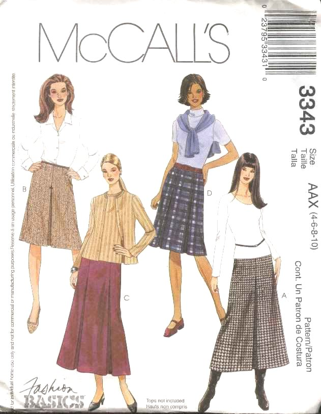 McCall's Sewing Pattern 3343 Misses Size 4-10 Classic A-Line Pleated Short Long Skirts