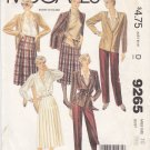 McCall's Sewing Pattern 9265 Misses Size 10 Wardrobe Lined Jacket Pants Skirt Blouse