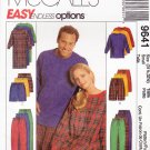 """McCall's Sewing Pattern 9641 Misses Mens Size Small 31 1/2 - 32 1/2"""" Easy Pajamas Nightshirt"""