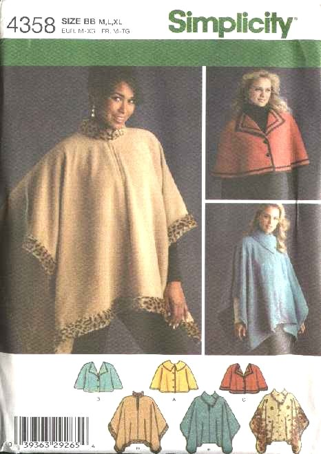 Simplicity Sewing Pattern 4358 Misses Size 14-24 Fleece Capelets  Poncho