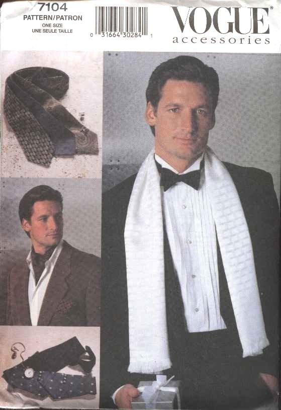 Vogue Sewing Pattern 7104 Men's Fashion Accessories Necktie Bowtie Scarf Cummerbund