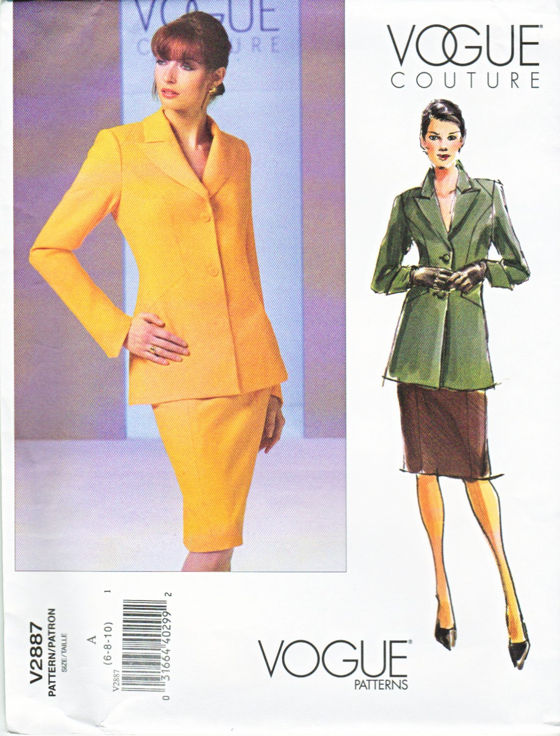 Vogue Sewing Pattern 2887 Misses Size 6-8-10 Couture Lined Jacket Skirt Suit