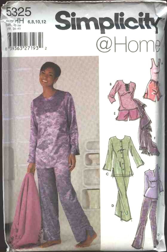 Simplicity Sewing Pattern 5325 Misses Size 6-12 Pants Shorts Tank Top Button Front Tunic Blanket