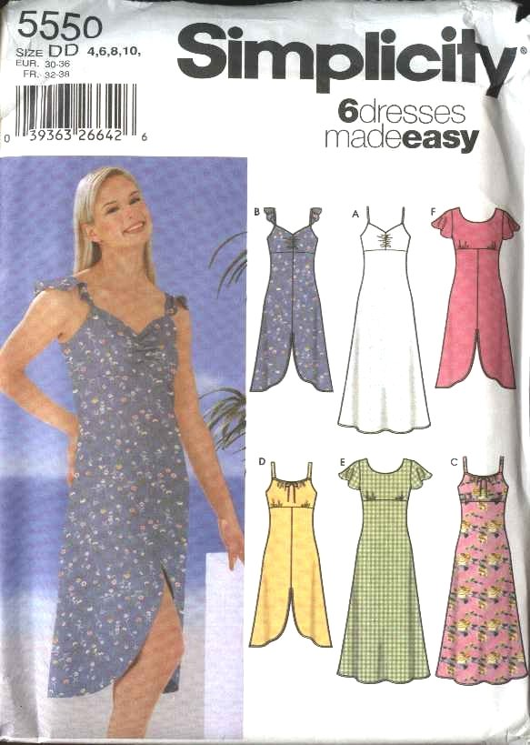 Simplicity Sewing Pattern 5550 Misses Size 4-6-8-10 Easy Empire Waist Sundress Dresses