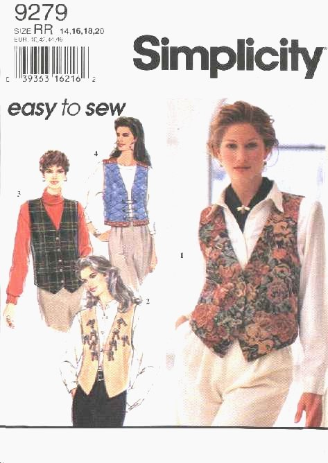 Simplicity Sewing Pattern 9279 Misses Size 6-12 Easy Lined Vests