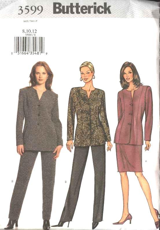 Butterick Sewing Pattern 3599 Misses Size 8-10-12 Easy Jacket Straight Skirt Pants Suit Pantsuit
