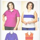 Kwik Sew Sewing Pattern 3866 Women's Plus Size 1X-4X (22W-32W) Pullover Knit Tops Polo Shirt