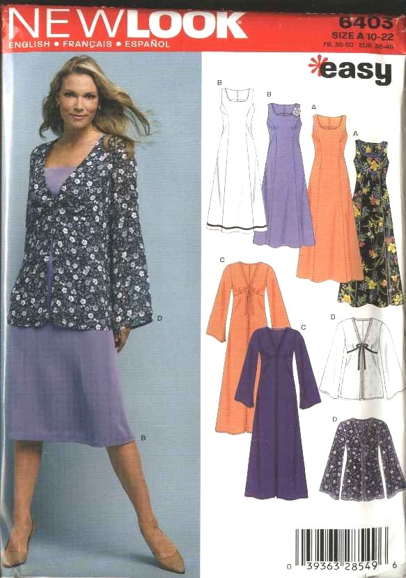 New Look Sewing Pattern 6403 Misses Size 10-22 Easy Long Short Dresses Jacket Duster