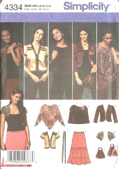 Simplicity Sewing Pattern 4334 0594 0743 Misses Size 6-14 Boho Wardrobe Skirt Jacket Shrug Poncho