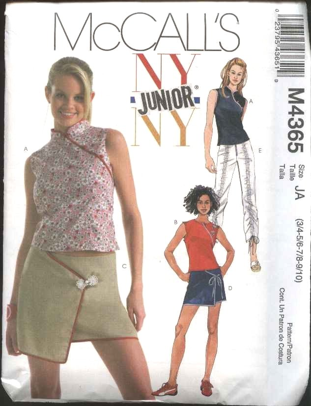 McCall's Sewing Pattern 4365 Junior Size 11/12-17/18 NYNY  Sleeveless Top Mini Skirt Pants