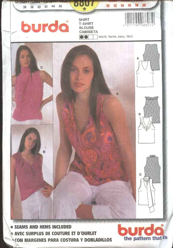 Burda Sewing Pattern 8807 Misses Size 10-20 Easy Summer Pullover Blouse