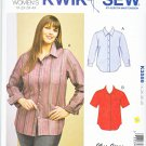 Kwik Sew Sewing Pattern 3586 Women's Plus Size 1X-4X (22W-32W) Button Front Shirt Sleeve Options
