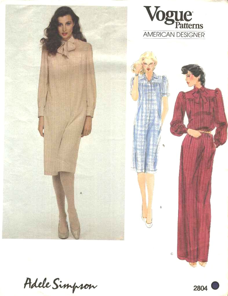 Vogue Sewing Pattern 2804 Misses Size 8 Adele Simpson American Designer Button Front Dress