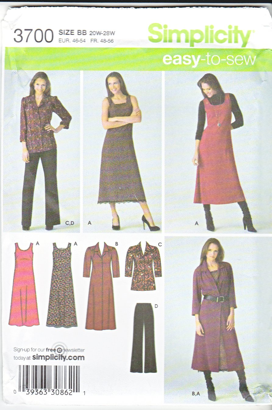 Simplicity Sewing Pattern 3700 Misses Size 10-12-14-16-18 Easy Wardrobe Pants Jumper Dress Blouse
