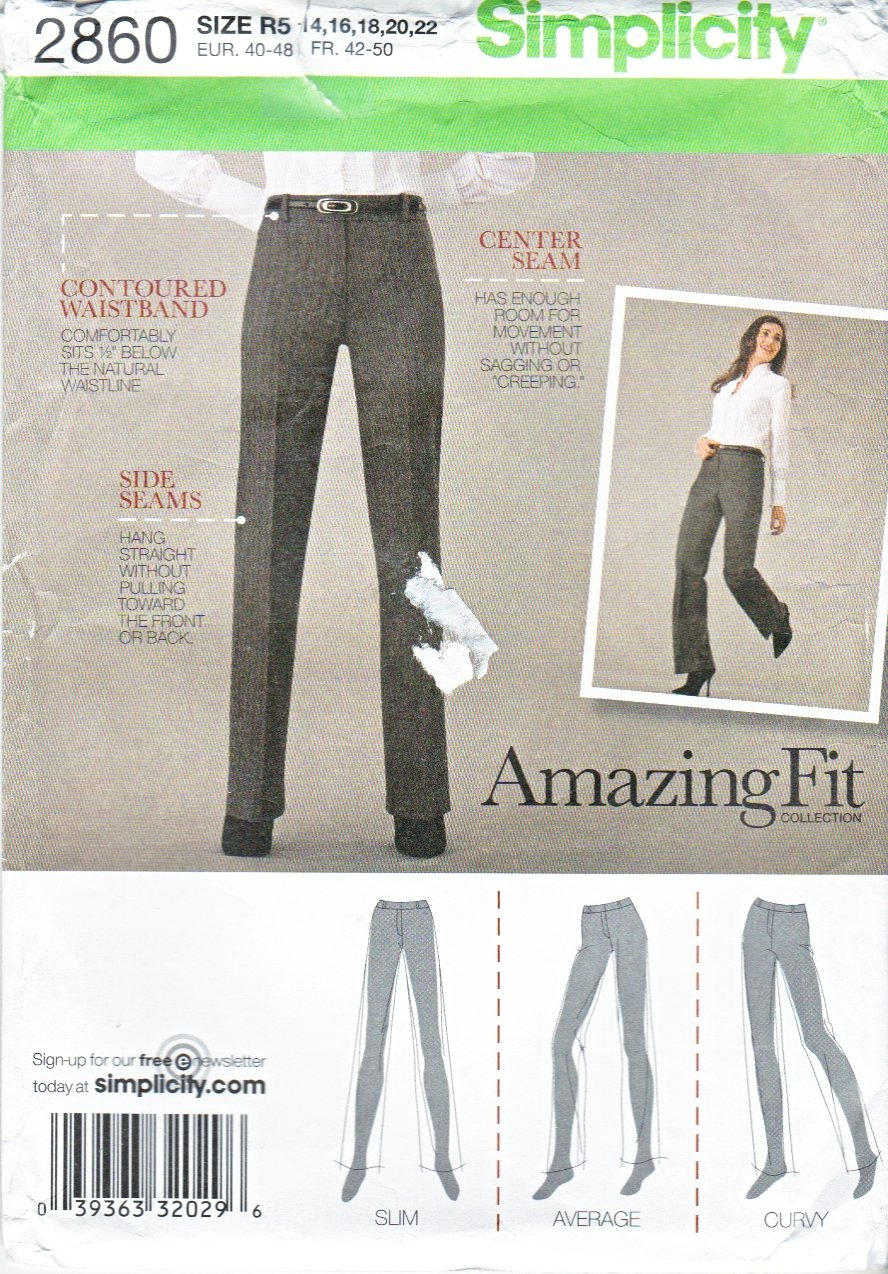 Simplicity Sewing Pattern 2860 Misses Size 14-22 Amazing Fit Pants Slacks Trousers