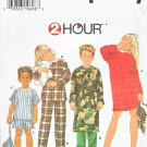 Simplicity Sewing Pattern 7407 Boys Girls Size 3-6 Pajamas Nightshirt Robe Bag Slippers Pants Top