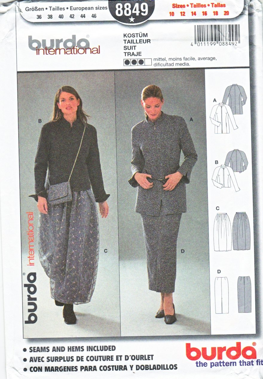 Burda Sewing Pattern 8849 Mises Sizes 10-20 Suit Jacket Skirts