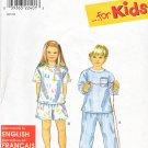 Simplicity Sewing Pattern 8490 Girls Boys size 3-8 Easy Pajamas Tops Shorts Long Pants Pyjamas