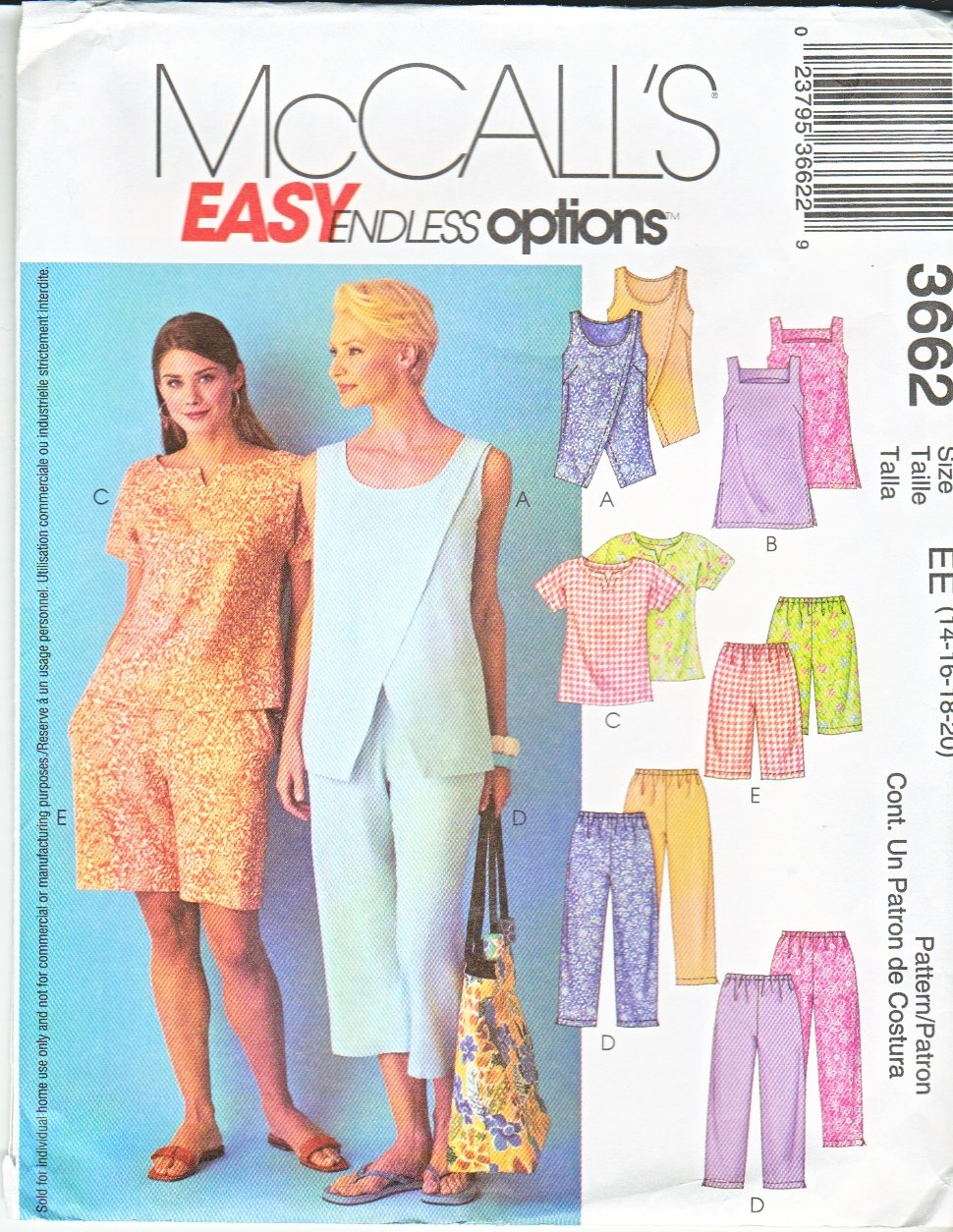McCall's Sewing Pattern 3662 Misses Size 14-20 Easy Summer Pullover Tops Shorts Cropped Pants